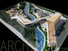 Mountain Resort and Spa with Hotel Model at 250 Scale