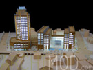 Wooden Scale Model of a Hotel with Lights On at 300 Scale