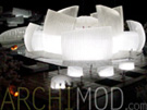 Sculptural White Museum Model with Lights