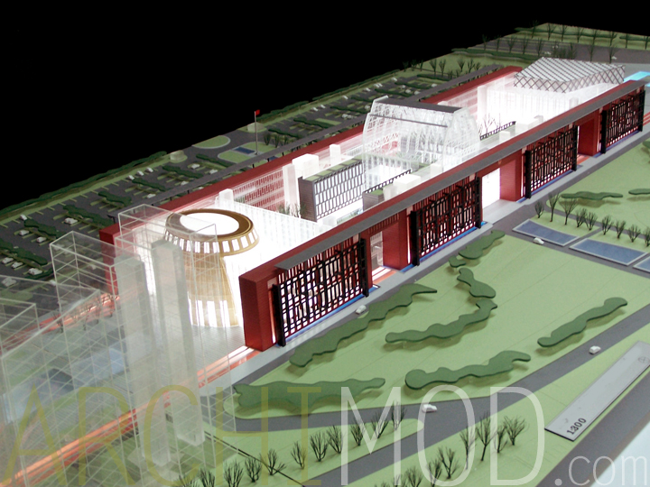 15 red office building architecture model 1to300jpg - Office Models Photos