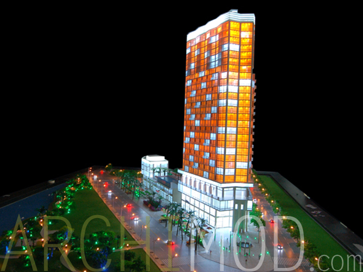 architectural engineering models. Multi-colored Glass Office Tower Scale Model With Lights Architectural Engineering Models