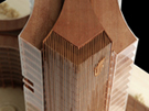 Wooden Scale Model of Bank Office Tower at 300 Scale