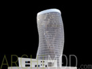White Twisting High-Rise Tower with Cross-Bracing Structure Scale Model