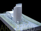 White Office Tower in Tropical Climate at 200 Scale