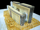 Wood and Glass Office Building Scale Model at 200 Scale