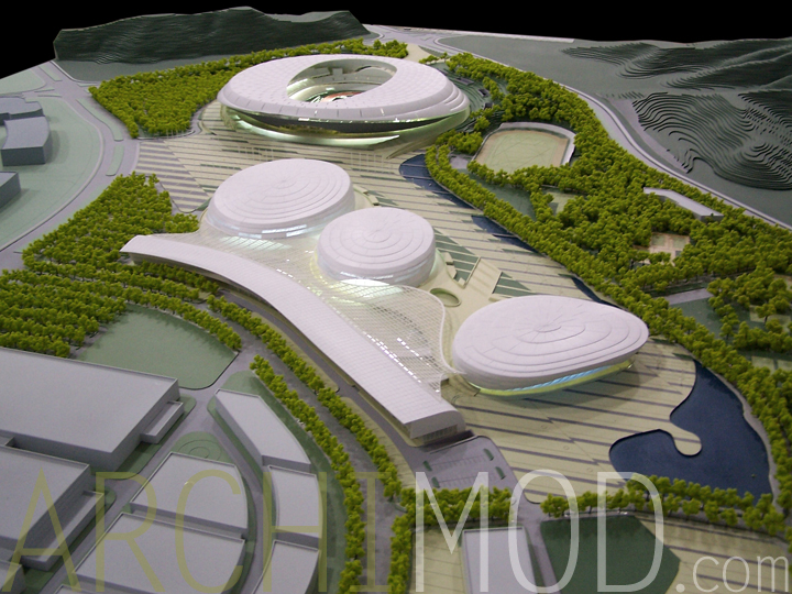 University Sports Complex- White Scale Architectural Model