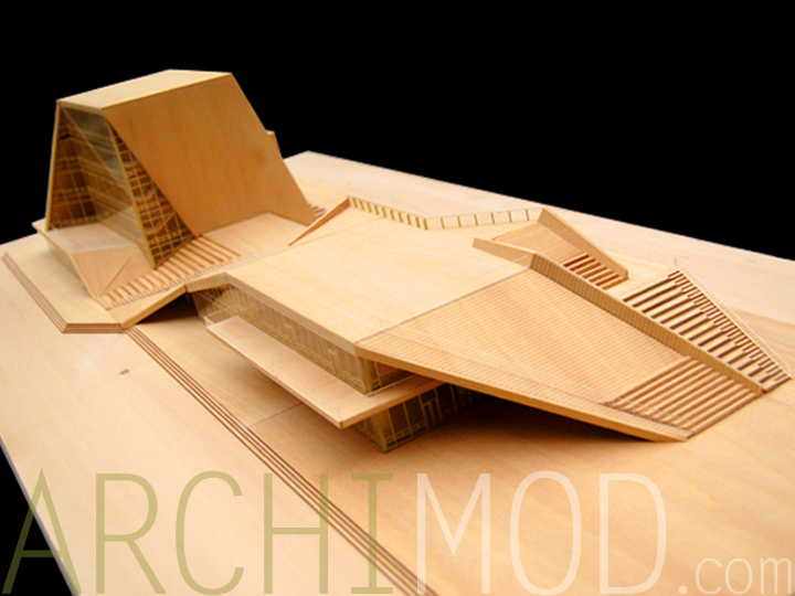 02 Wood University Building Architectural Scale Model