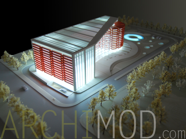 University Building Scale Model With Lights At 300
